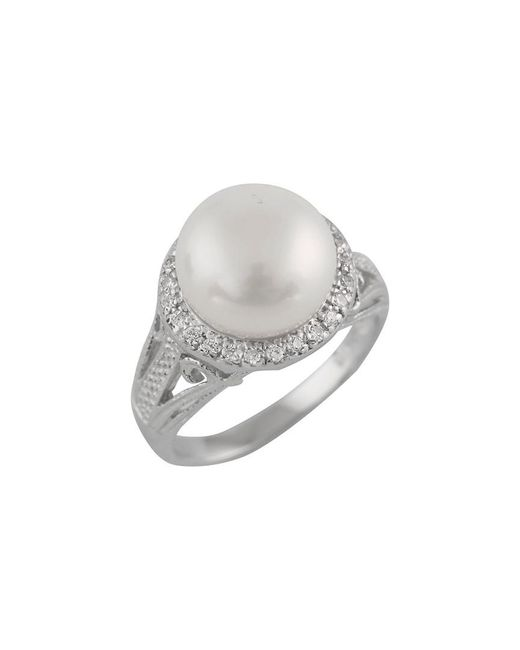 Splendid Metallic Rhodium Over Silver 10-10.5mm Pearl Ring