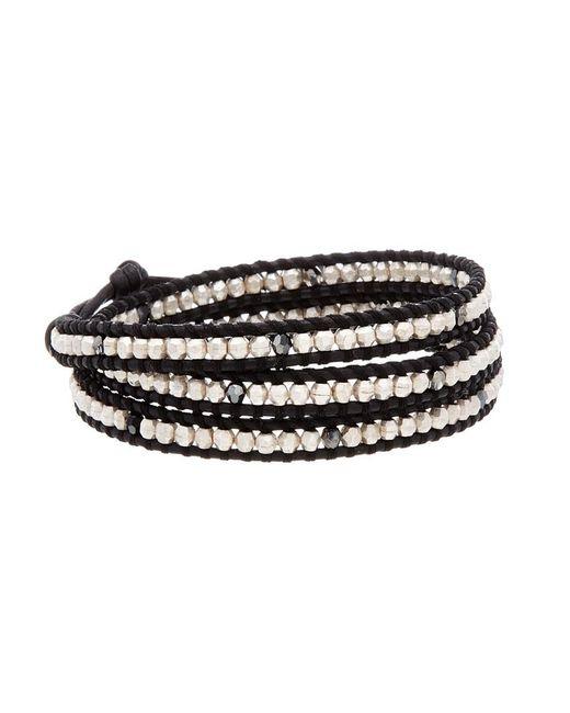 Chan Luu Metallic Silver & Leather Crystal Triple Wrap Bracelet