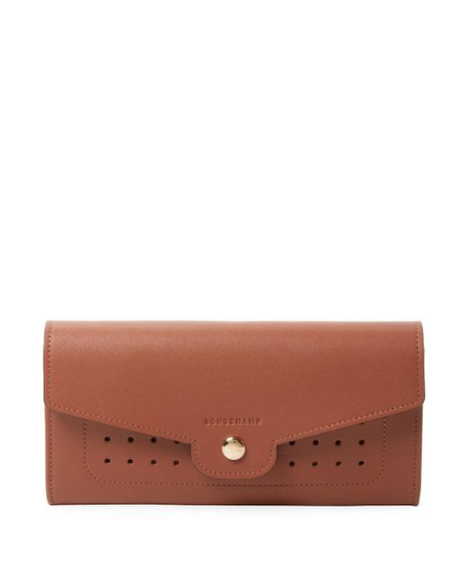 Longchamp - Brown Perforated Leather Wallet - Lyst