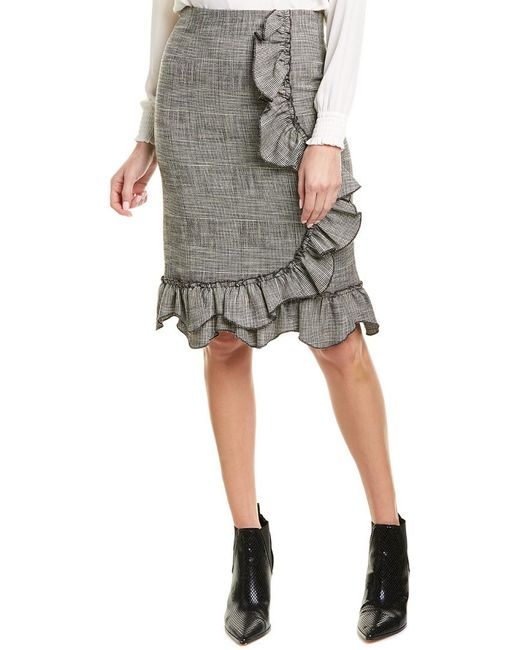 Rebecca Taylor Black Plaid Ruffle Skirt