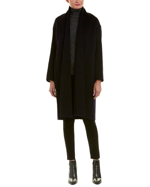 Vince - Blue High-collar Wool-blend Coat - Lyst
