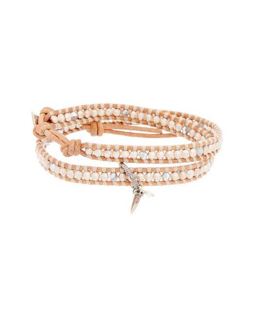 Chan Luu Metallic Silver Crystal Leather Wrap Bracelet