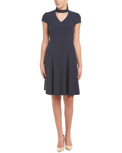 Tahari Blue Tahari Asl A-line Dress