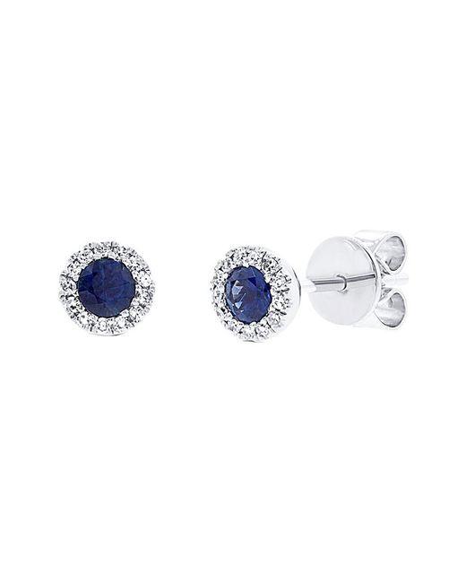 Diana M . Fine Jewelry 14k 0.36 Ct. Tw. Diamond & Blue Sapphire Studs