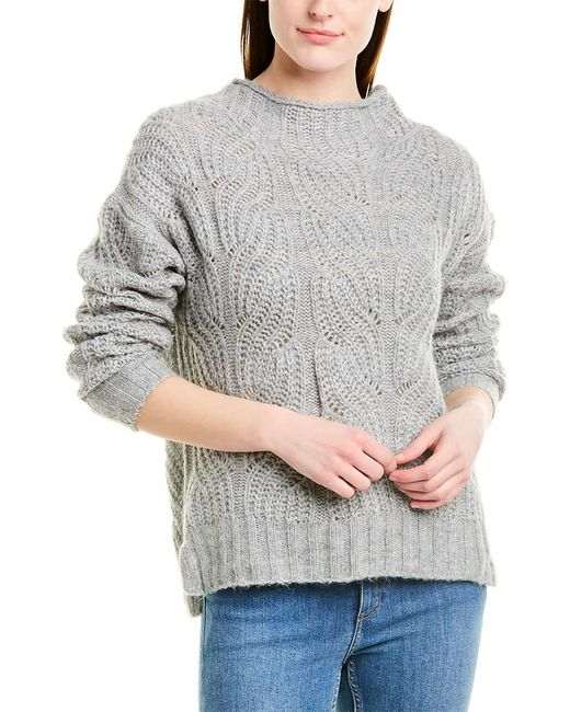 J.Crew Gray Pointelle Cable Knit Sweater