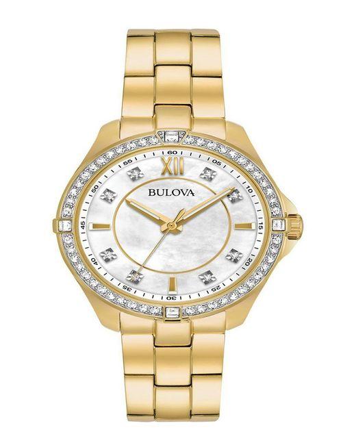 Bulova Metallic Women's Crystal Gold Tone Stainless Steel Bracelet Watch 35mm 98l230 - A Macy's Exclusive