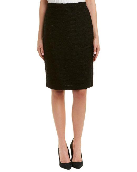 St. John Black Wool-blend Pencil Skirt