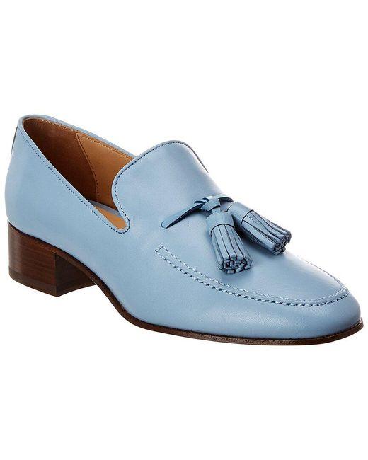 Loewe Blue Pompom Leather Loafer