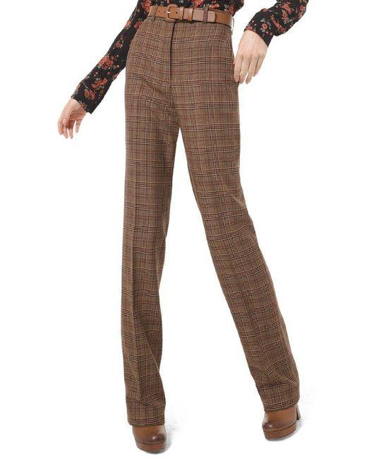 Michael Kors Brown Wool Waisted Straight Leg