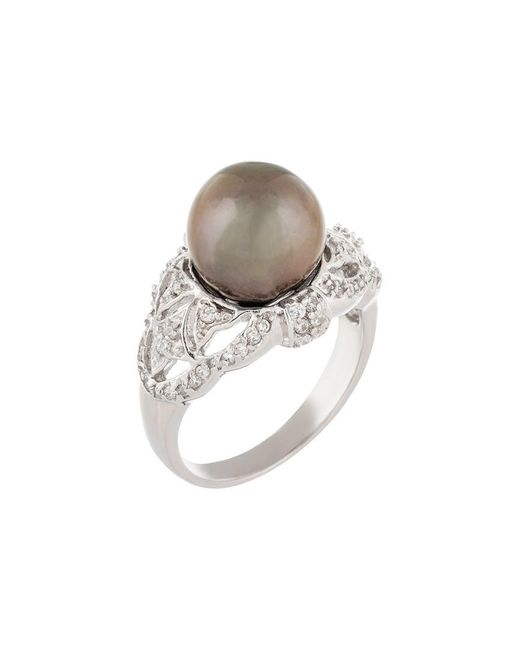 Splendid Metallic Silver 8-9mm Tahitian Pearl Ring