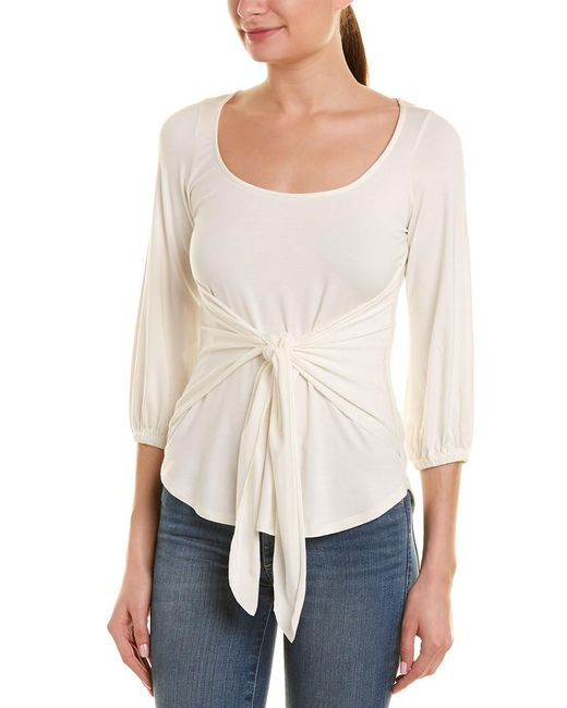 Rachel Pally White Catalina Tie-front Jersey Top
