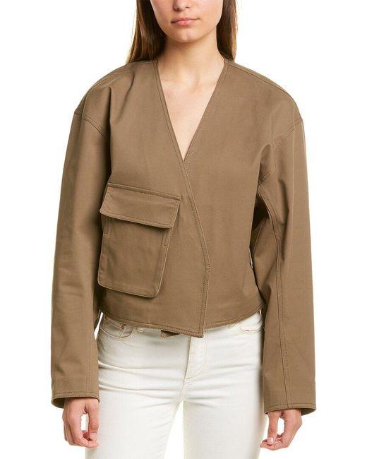 Tibi Brown Myriam Twill Cropped Jacket