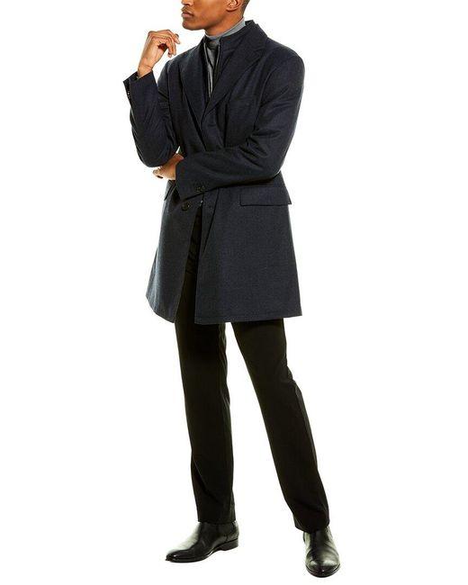 Corneliani Black Wool Top Coat for men