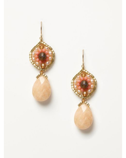 Miguel Ases - - Pink Coral And Agate Drop Earrings - Lyst