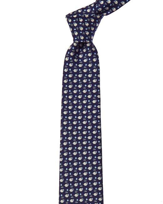 Ferragamo Blue Navy Sheep Silk Tie for men