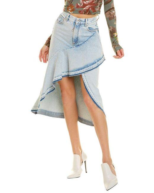Off-White c/o Virgil Abloh Blue Off-white? Denim Asymmetrical Midi Skirt