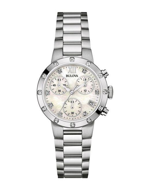 Bulova Metallic Stainless Steel Diamond Watch
