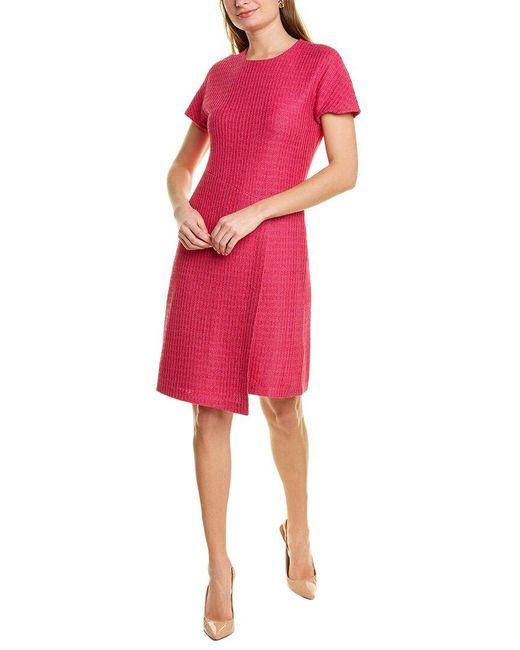 St. John White Textured Wool-blend A-line Dress