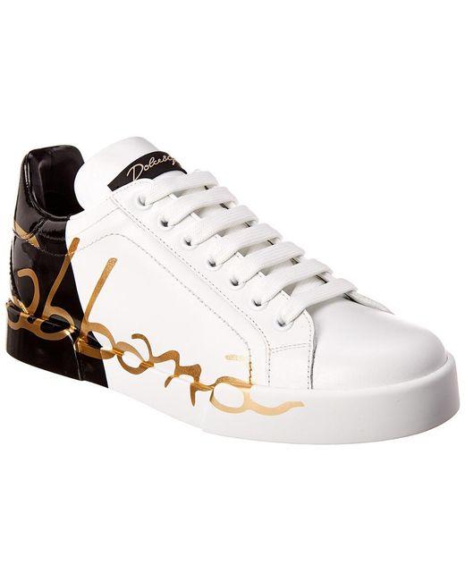 Dolce & Gabbana White Portofino Leather Sneaker