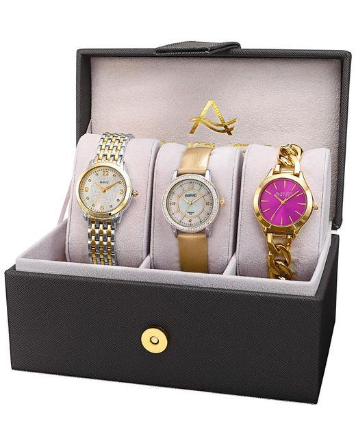 August Steiner Multicolor Women's Set Of 3 Diamond Watches