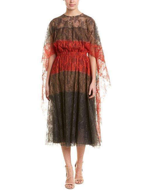 Valentino Gray Lace Silk Midi Dress