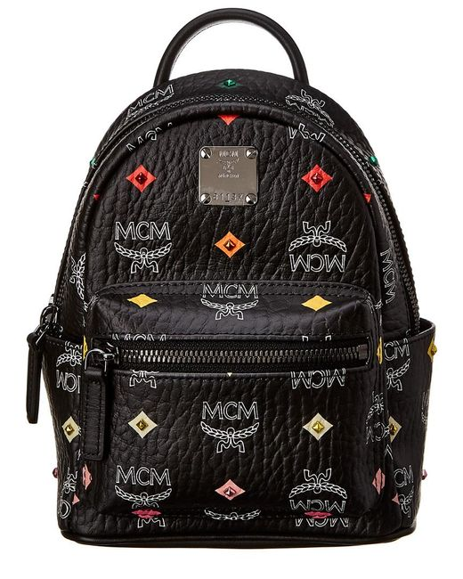 MCM Black Stark Bebe Boo Mini Studded Visetos Backpack