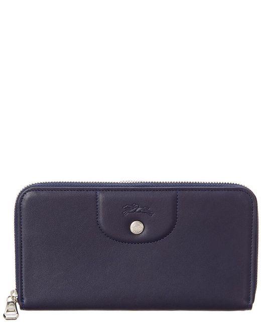 Longchamp Blue Le Pliage Cuir Leather Zip Around Wallet
