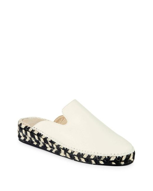 Pure Navy - White Leather Espadrille Mules - Lyst