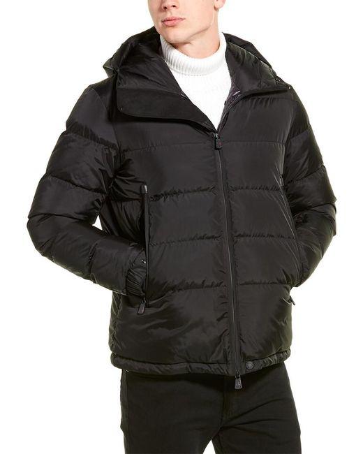 Moncler Black Logo Print Quilted Down Coat for men
