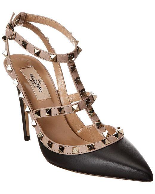 Valentino Black Rockstud Caged 100 Leather Ankle Strap Pump