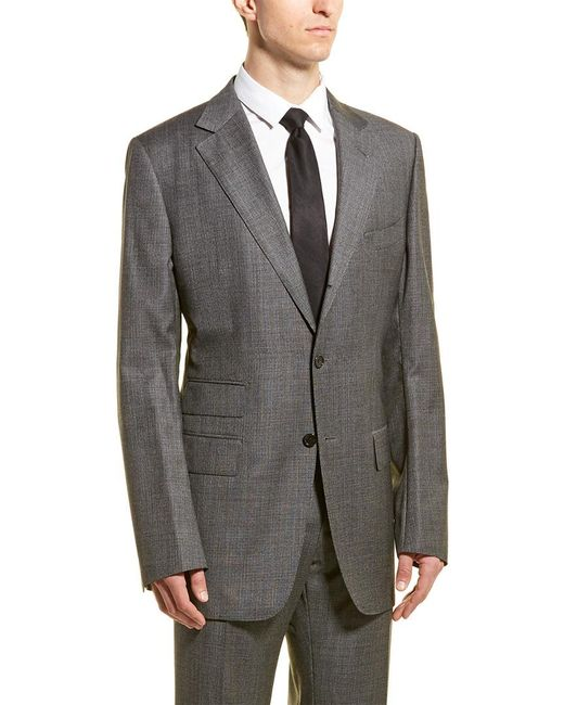 Tom Ford Gray Wool Suit With Flat Front Pant for men