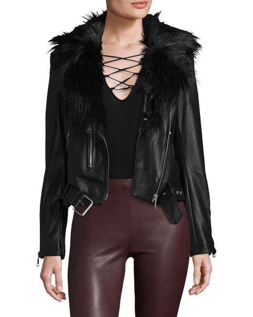 Bagatelle - Black Faux Leather Biker Jacket With Detachable Faux Fur Collar - Lyst