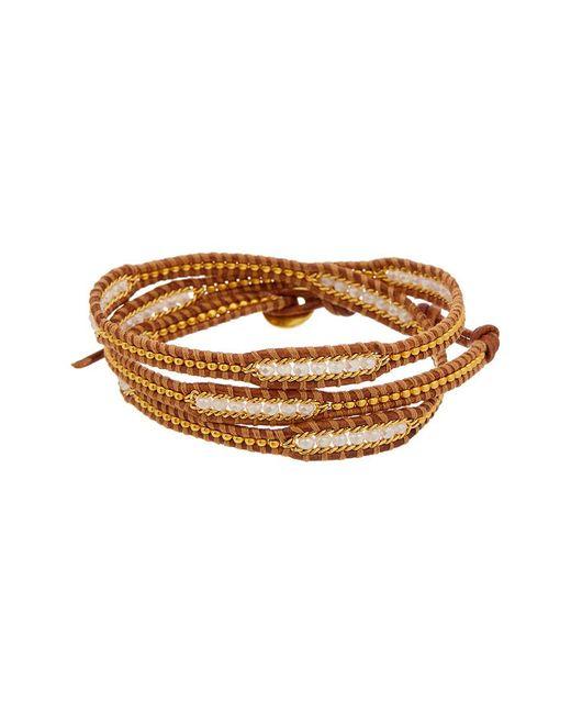 Chan Luu - Brown Crystal Leather Wrap Bracelet - Lyst
