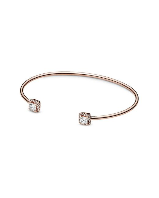 Pandora Rose 14k Rose Gold Plated Cz Square Sparkle Open Bangle In Metallic Save 1 Lyst