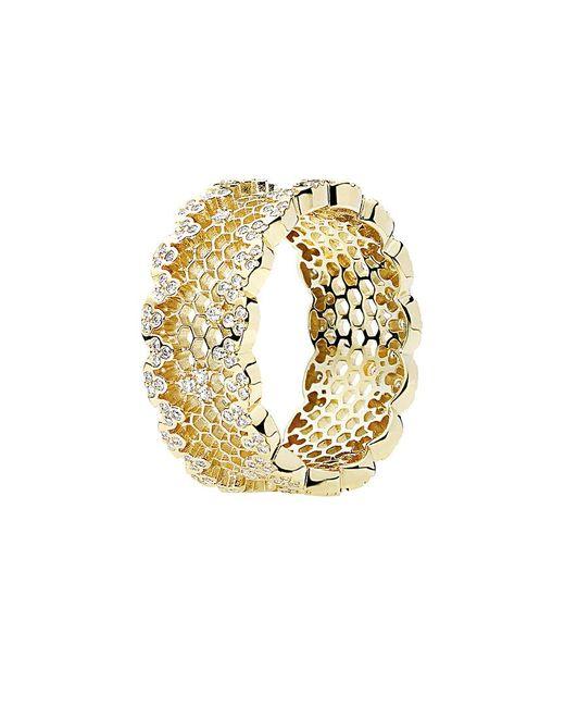 Pandora Metallic 18k Cz Honeycomb Lace Ring