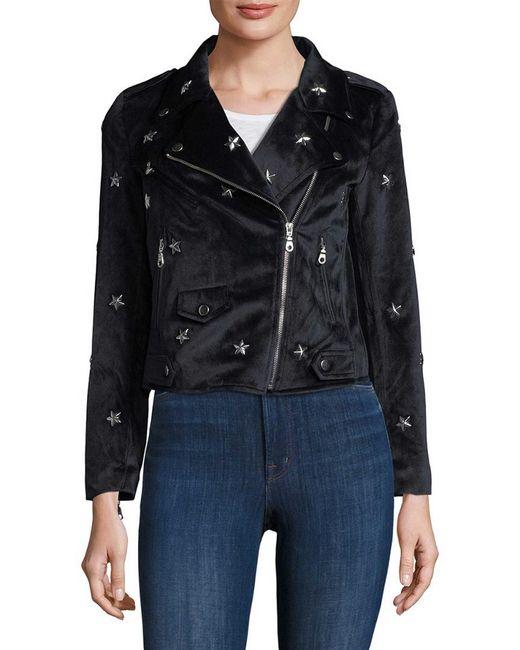 Rebecca Minkoff Woman Studded Velvet Biker Jacket Midnight Blue