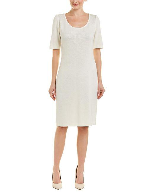 St. John White Wool-blend Sweaterdress