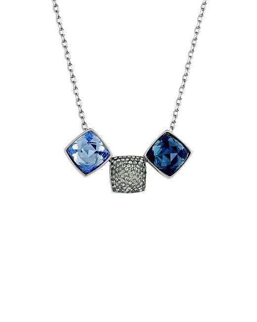 Swarovski Blue Crystal Rhodium Plated Necklace
