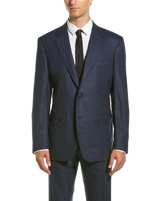 Canali Blue Wool-blend Suit With Flat Front Pant for men