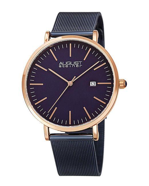 August Steiner Metallic Stainless Steel Watch for men