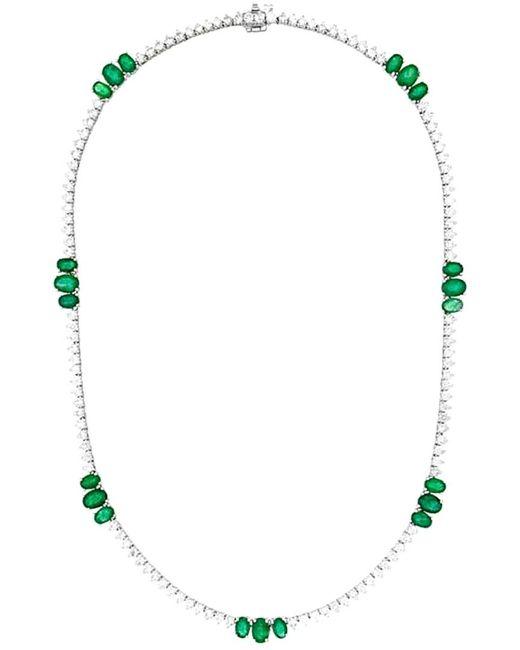 Diana M Metallic . Fine Jewelry 18k 18.77 Ct. Tw. Diamond & Emerald Necklace