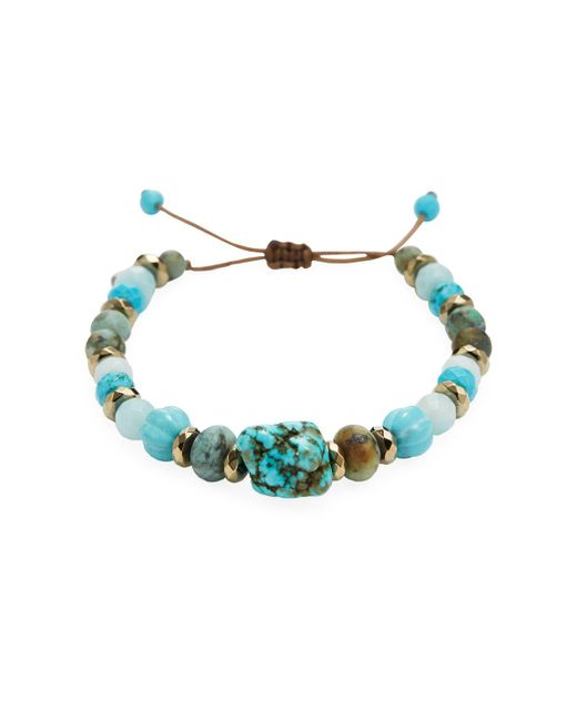 Chan Luu   Blue Matte African Turquoise, Amzonite, Turquoise, Titanium Pyrite & Sterling Silver Bracelet   Lyst