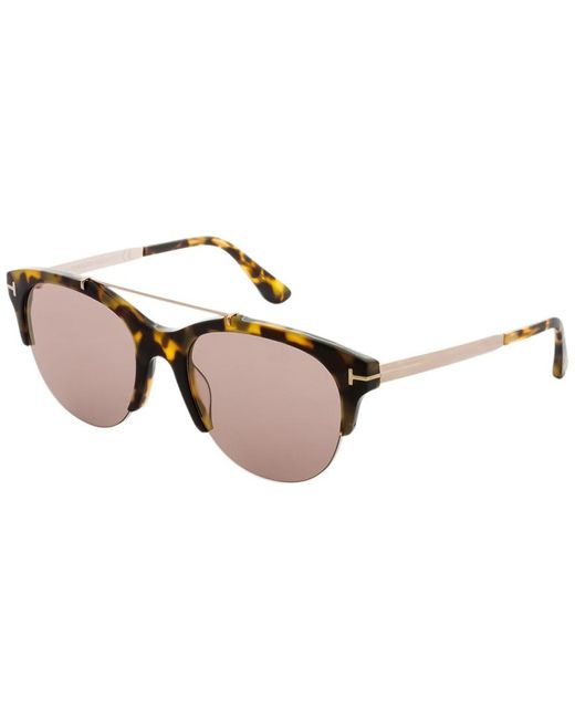Tom Ford Brown 55mm Mirrored Round Sunglasses