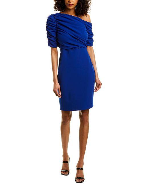 Badgley Mischka Blue Shirred Cocktail Dress