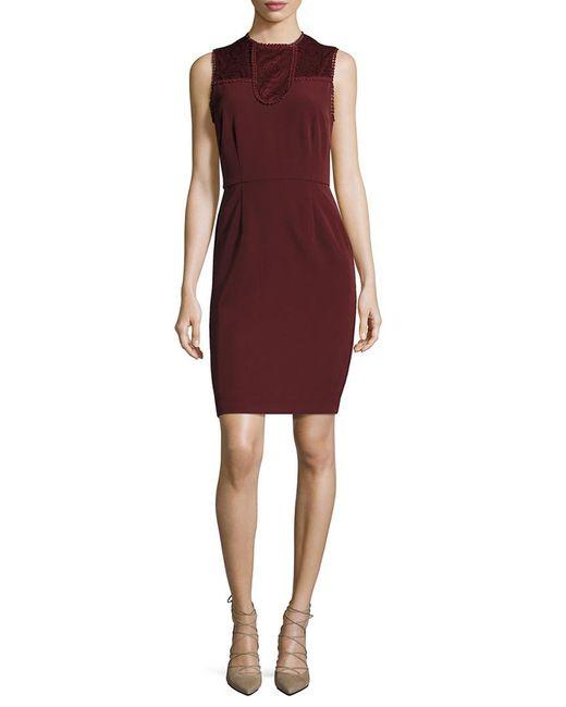 Ava & Aiden Purple Lace Contrast Sheath Dress