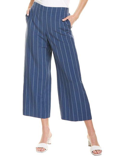 Lafayette 148 New York Blue Stately Stripe Riverside Silk-blend Pant
