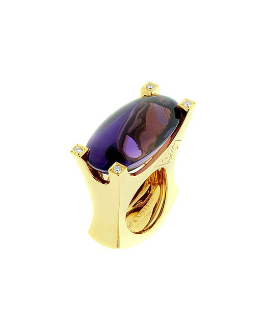 Van Cleef & Arpels Vintage Metallic Van Cleef & Arpels 18k 0.16 Ct. Tw. Diamond & Amethyst Ring