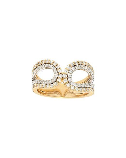 Nephora Metallic 14k Two-tone 0.85 Ct. Tw. Diamond 2 Row Curved Ring