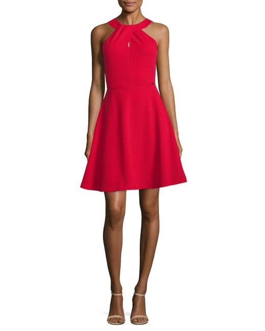 Armani Exchange - Pink Woven Fit-and-flare Dress - Lyst