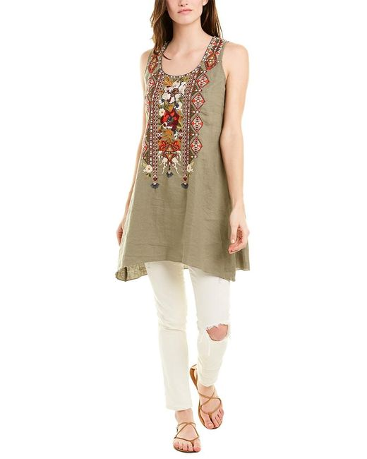 Johnny Was Green Linen Tunic
